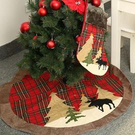 Christmas Elk Grid Edge Tree Skirt Christmas Tree Decorative