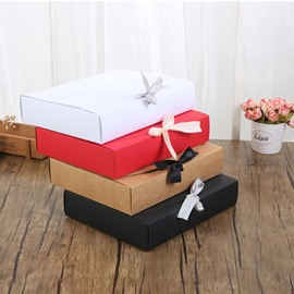 Ribbon Simple Plain 4 Color Specialty Paper Gift Box
