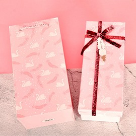 Graceful Pink Swan and Black Feather Grey Card Paper Gift Bag and Box