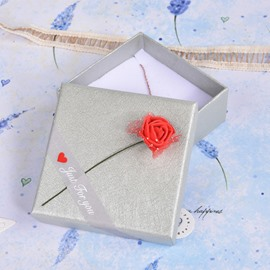 Romantic Beautiful Rose and Riband 3-Size Silver-gray Paper Gift Box