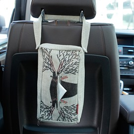 Creative Deer Patterned Linen Tissue Box Car Backseat Organizer