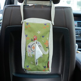 Creative Elephant Patterned Linen Tissue Box Car Backseat Organizer