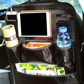 Classic Glossy Black Leather Popular Car Backseat Organizer