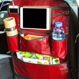 Classic Glossy Black Leather Popular Car Backseat Organizer