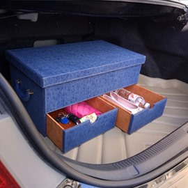 Popular Design Multifunction Use With Three Drawer Leather Blue Car Trunk Organizer