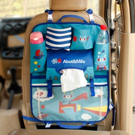 Multifunction Anti-Kicking Blue Cartoon Bear Style Creative Car Backseat Organizer