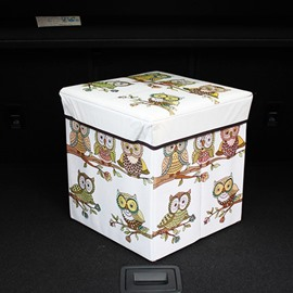 Cute Owl Pattern High Capacity Cube Design Car Trunk Organizer