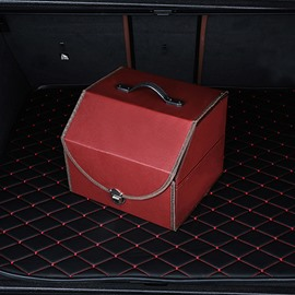 Exquisite Small Size Leather Foldable Bright Color Car Trunk Organizer