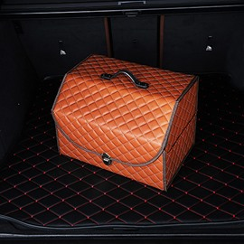 High Capacity Leather Foldable Popular Bright Color Car Trunk Organizer