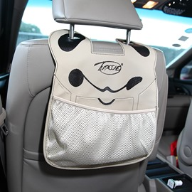 Cute Cartoon Character Face Durable PU Material High Capacity Car Chair-Back Organizer