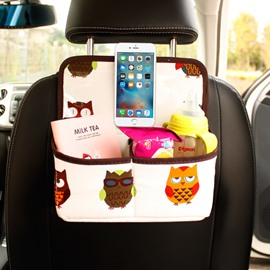 Cute Owl Pattern Multifunction Enough Capacity Oxford Material Car Chair-Back Organizer