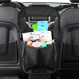 Classic Black Simple Design Hanging Suspension Oxford Cloth High Capacity Car Chair-Back Organizer