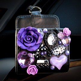 Super Charming Purple Small Floral Model Design Popular Car Outlet Storage Box Organizer