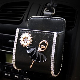 Textured High-Grade Luxury Elegant Ballet Girl Pattern Car Outlet Organizer