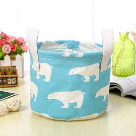 Water-Proof Polyester Cotton Polar Bear Modern Style Car Organizer Storage Box