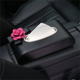 Top Grade Leather Accompany With A Vivid Camellia Car Tissue Box