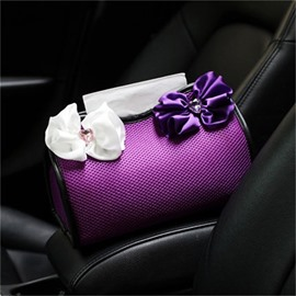 High-grade Purple Net cloth With Bow-tie Car Tissue Box