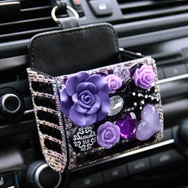Beautiful And Practical With Crystal Decoration Car Organizer