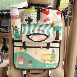 Lovely Cartoon Small Mushroom Pattern Durable Oxford Cloth Material Hanging Car Backseat Organizer