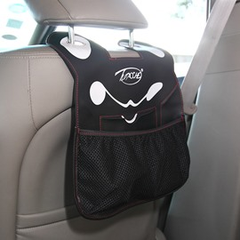 Classic Black Design Cute Cartoon Character Face Durable PU Material High Capacity Car Chair-Back Organizer