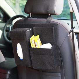 Durable Soft Felt Material Multiple Pockets Black Car Backseat Organizer