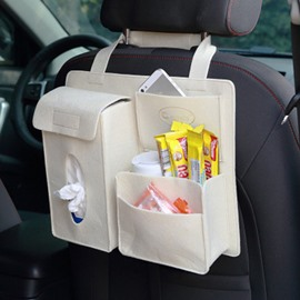 Durable Soft Felt Material Multiple Pockets Beige White Car Backseat Organizer