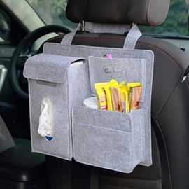 Durable Soft Felt Material Multiple Pockets Light Gray Car Backseat Organizer
