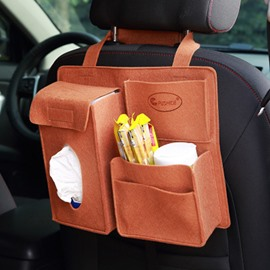 Durable Soft Felt Material Multiple Pockets Brown Car Backseat Organizer
