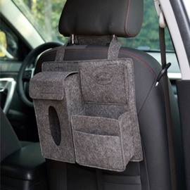 Durable Soft Felt Material Multiple Pockets Gray Car Backseat Organizer