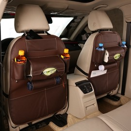 Smooth Simple Design Genuine Leather Car Organizer