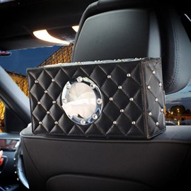 Grid-shaped Leather Inlaid with Big Rhinestone Car Tissue Box
