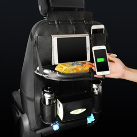 Car with 3 USB Charging Cables and Dining Rack Back Pocket