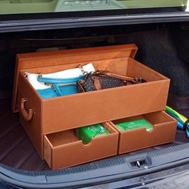 Simple Solid Muti-Use Three Drawer Popular Design Leather Trunk Organizer