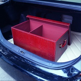 Fresh Red Color High Capacity With Leather Material Car Trunk Organizer