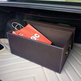 Classic Coffee Style High Capacity Foldable PU Leather Car Trunk Organizer