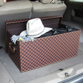 Big Capacity Durable Leather Material Fashion Car Trunk Organizer