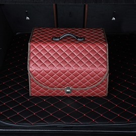 Leather Red Medium High Capacity Hanging Foldable Car Trunk Organizer