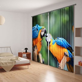 3D Two Beautiful Parrots Printed Animal Style Decoration and Blackout Polyester Curtain