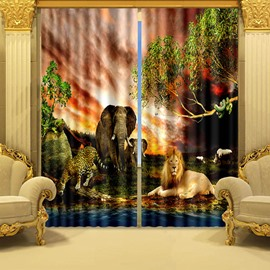 3D Elephant Lion Tiger and Leopard Animals Kingdom Printed Blackout and Decoration Curtain
