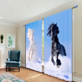 3D Impetuous White and Black Horses Printed Polyester Animal Scenery Digital Printing Curtains