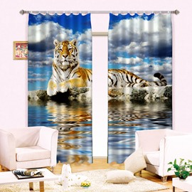 3D Lovely Tiger Printed Thick Polyester Animal Scenery 2 Panels Blackout Curtain