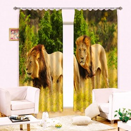 3D Two Lions Printed Wonderful Animal Scenery 2 Panels Living Room Curtain