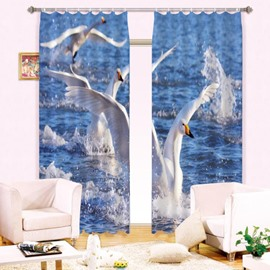 3D Gooses Playing in Water Printed Wonderful Animal Scenery 2 Panels Shading Curtain