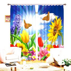 3D Colorful Flowers Red Rose Butterflies Printed Two Panels 3D Curtain
