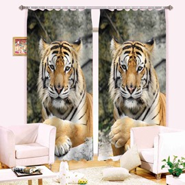 3D Cute Tigers Printed Animal Style Decoration and Blackout Curtain Polyester Window Curtain