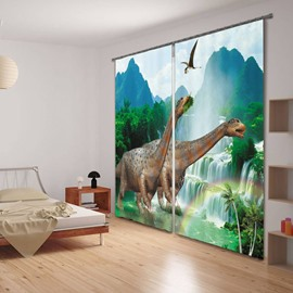 3D Two Dinosaurs Printed Thick Polyester Animals Style 2 Panels Decorative Custom Curtain