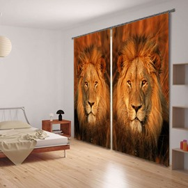 3D Two Symmetrical Lions's Head Printed Thick Polyester Cotton 2-Panels Blackout Curtain