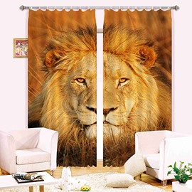 3D Fierce Lion Head Printed Thick Polyester Animal Style Blackout Curtain