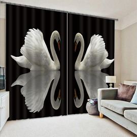 3D Lovely Couple White Swans Printed Polyester Decoration Custom Living Room Curtain