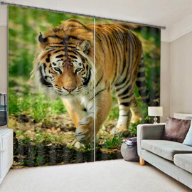 3D Foraging Tiger Printed Thick Polyester Blackout Living Room Custom Curtain